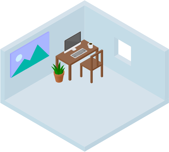 Isometric vector illustration of an office interior