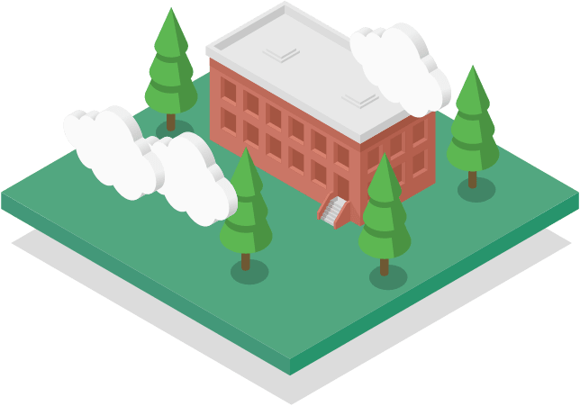 Isometric vector illustration of a building