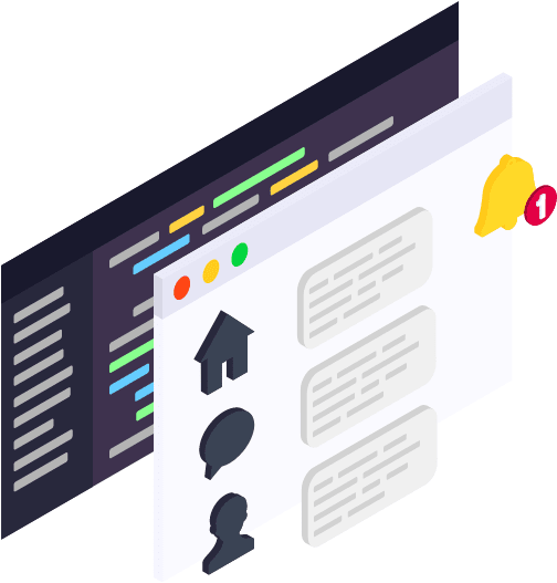 Isometric vector illustration of a user interface