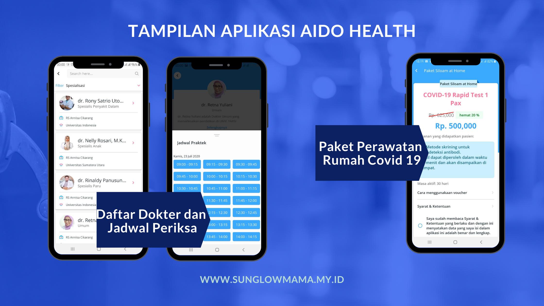 Tampilan aplikasi aido health