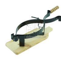 PORTA PROSCIUTTO in ferro battuto con base in legno di faggio