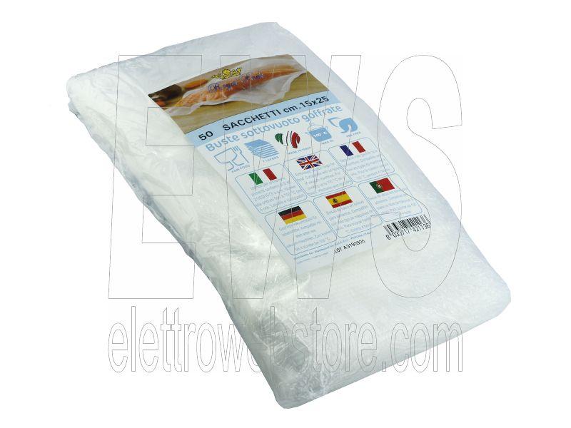ROYAL PACK Buste e sacchetti per sottovuoto goffrati per alimenti FRESH LINE 15x40 confezione da 25 sacchetti