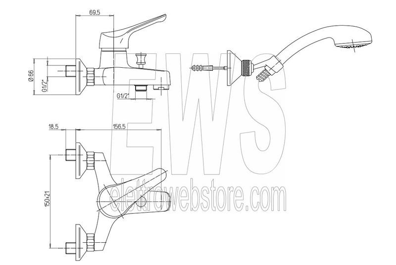 Miscelatore con doccetta per vasca da bagno Paini Pilot 04CR105P1