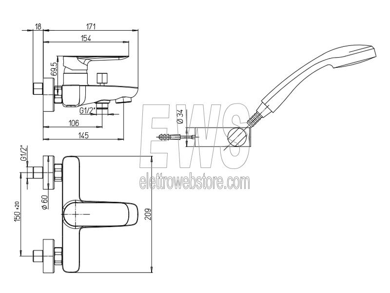 Paini Nove miscelatore esterno con doccetta per vasca da bagno 09CR105