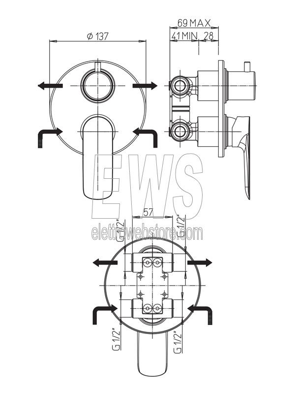Paini Nove miscelatore incasso doccia con deviatore rotativo due uscite cromato 09CR6911