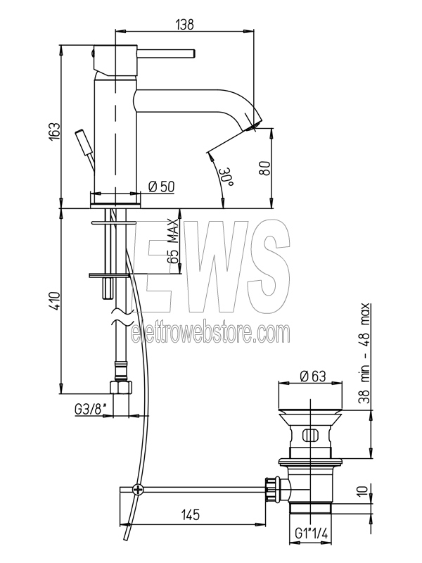 Paini Cox miscelatore per lavabo cromato 78CR211O