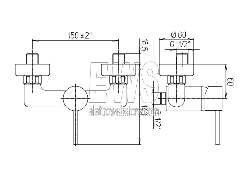 Paini Cox miscelatore rubinetto doccia a muro 78CR511