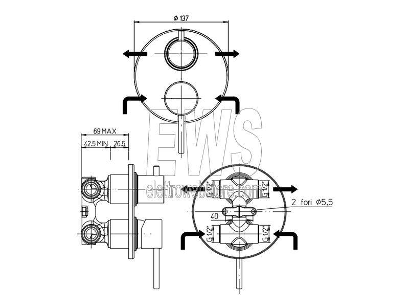 Paini Cox miscelatore incasso doccia con deviatore rotativo due uscite cromato 78CR6911