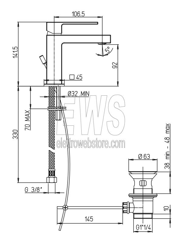 Paini Dax miscelatore rubinetto monoforo lavabo muro 84CR211LRS