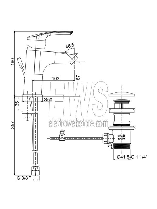 Paini-Atomix-miscelatore-monoforo-lavabo-scarico-automatico-D1CR211G-