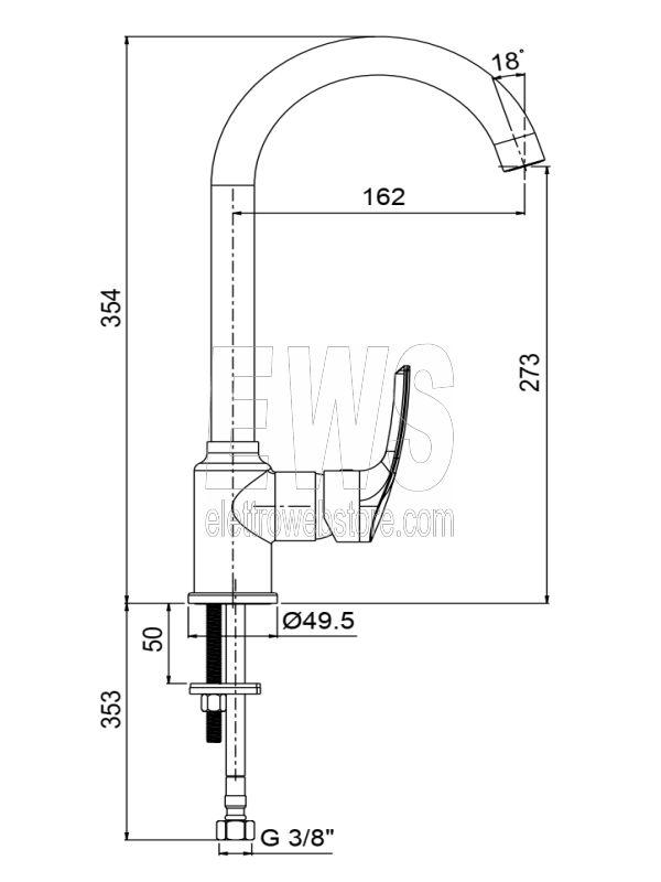 Paini Atomix miscelatore rubinetto lavello con tubo orientabile D1CR572V