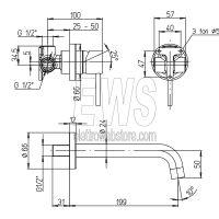 Paini Cox miscelatore rubinetto lavabo a muro 78CR208