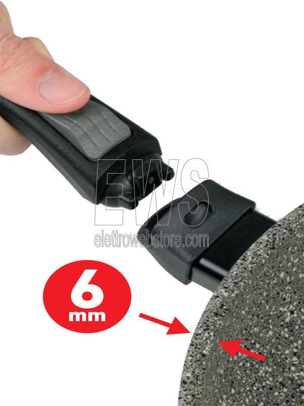 Flonal Monolite padella induzione con manico estraibile dettaglio del manico che si smonta