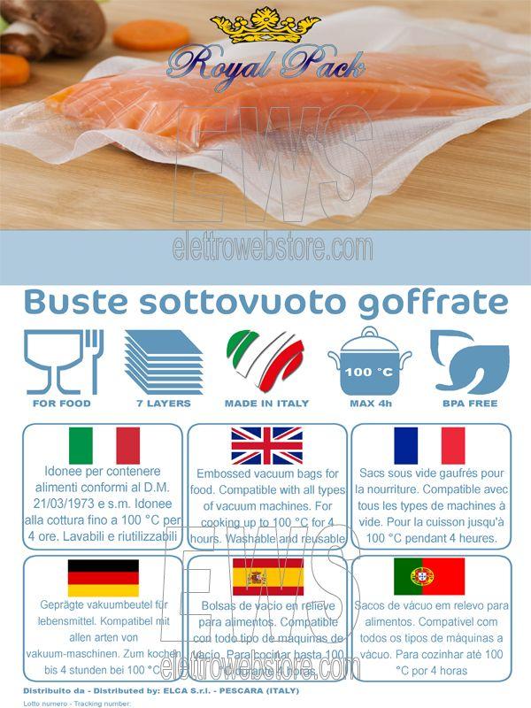 Buste e sacchetti sottovuoto goffrati per alimenti embossed vacuum bags Royal Pack ECO7 label etichetta