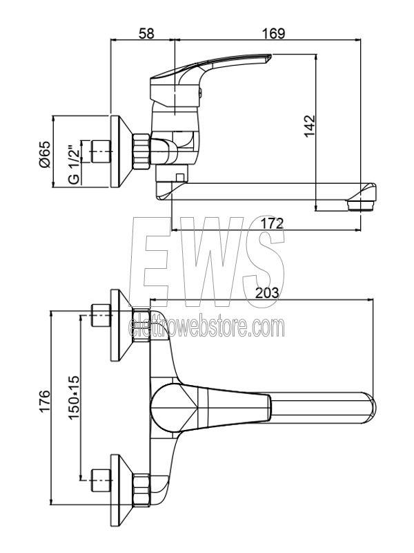 Paini Atomix miscelatore rubinetto lavello a muro D1CR501