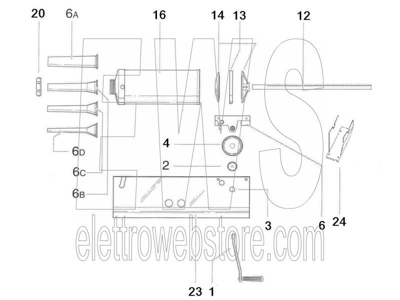 REBER Ingranaggio grande alluminio insaccatrice 5 8 kg 6507A