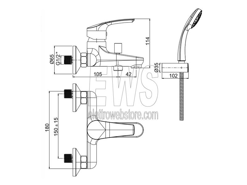 Paini Atomix miscelatore vasca esterno con kit doccia D1CR105