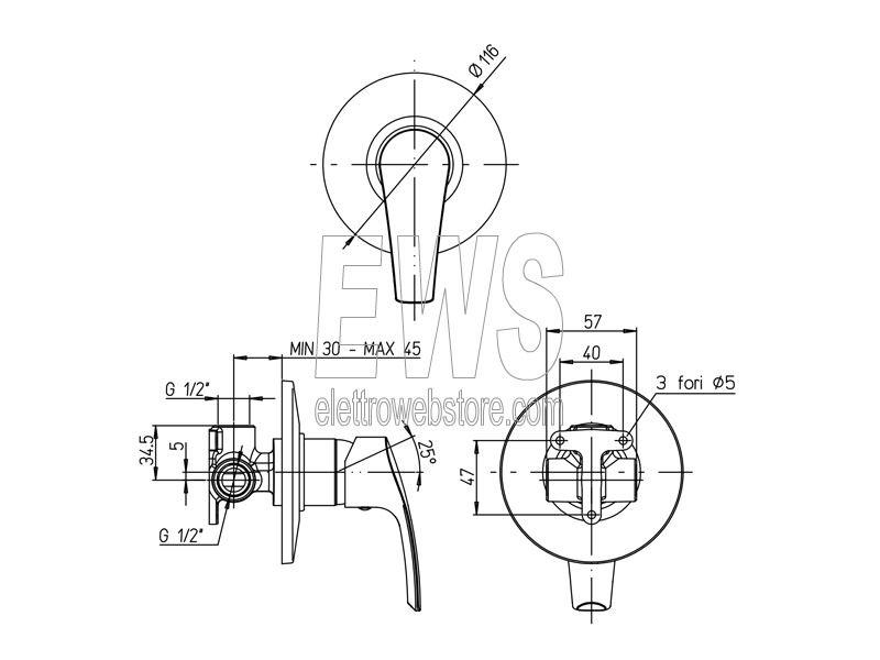 Paini Atomix miscelatore incasso doccia cromato D1CR690