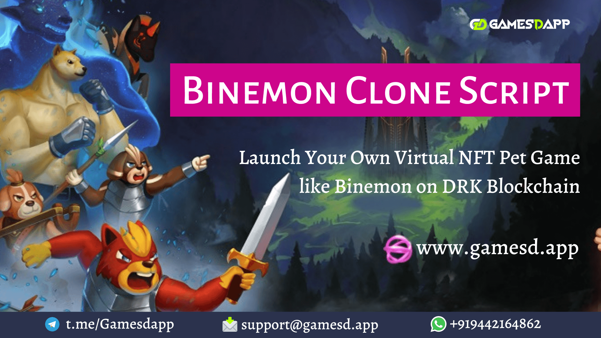 Binemon Clone Script - To Develop NFT based Play-to-earn Game like Binemon on DRK Blockchain
