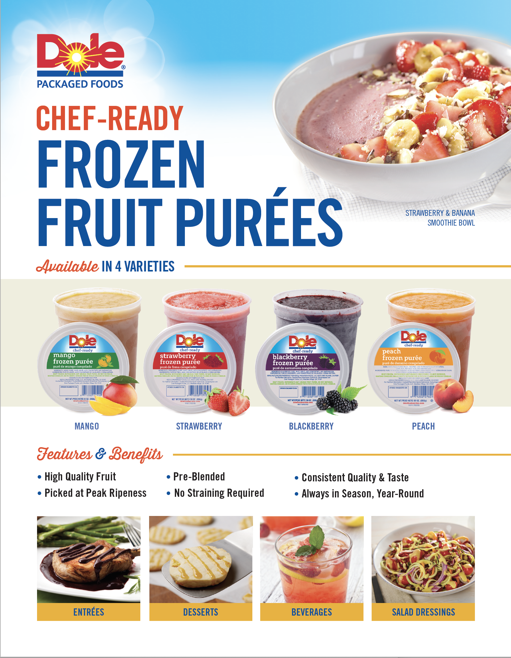 Chef ready frozen fruit purees