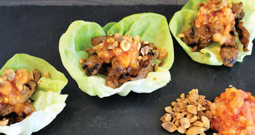 BULGOGI BEEF AND MANGO LETTUCE CUPS