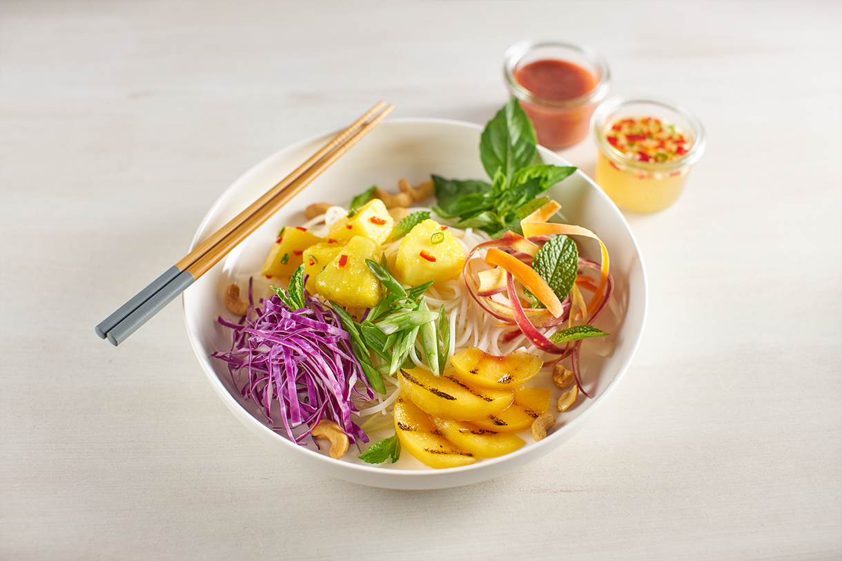 Pineapple & Peach Bún Chay Salads