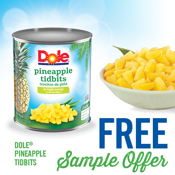 DOLE Free Sample Offer Pineapple Tidbits
