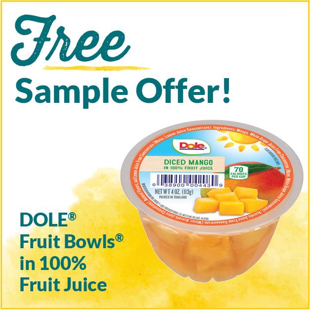 Free Sample Offers Dole Fruit Bowls in 100% Fruit Juice