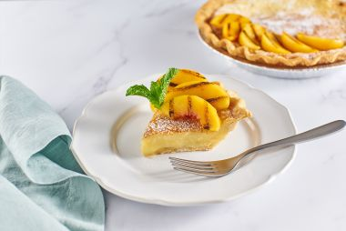Chess Pie with Grilled Peaches