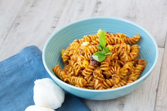 Rotini in Trapanese Mango Pesto