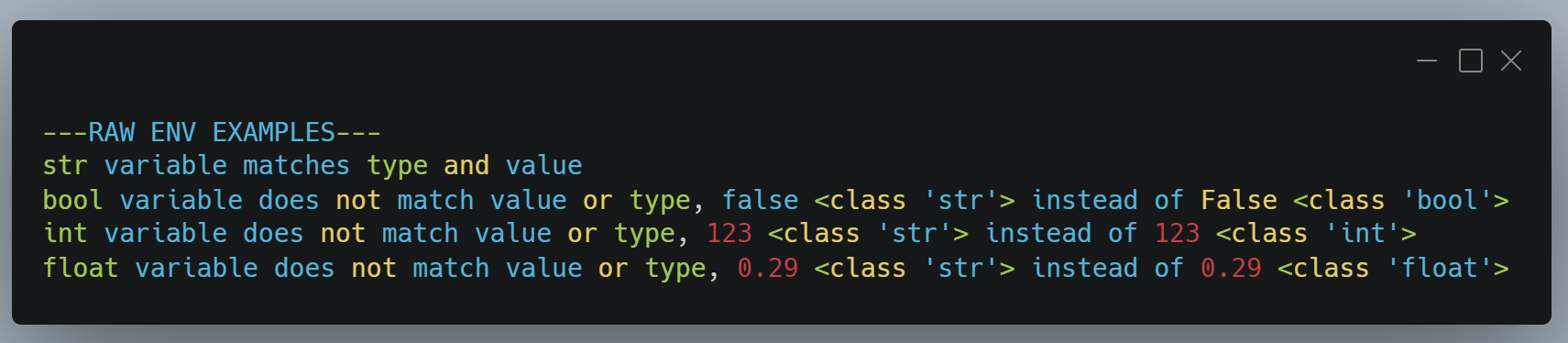 raw .env import output, only the string constant is correct on value AND type