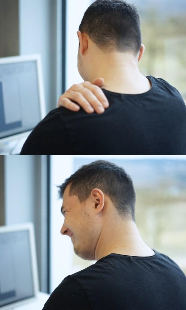 Mann will Nackenverspannung lösen