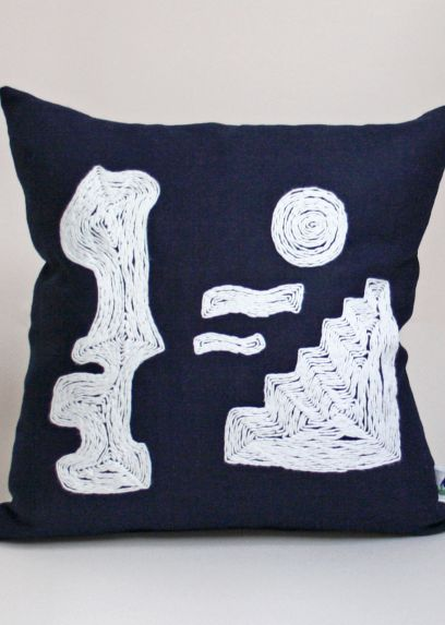 BLUE ABSTRACT CUSHION