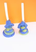 Plastic Baroque Blue Candle Holders