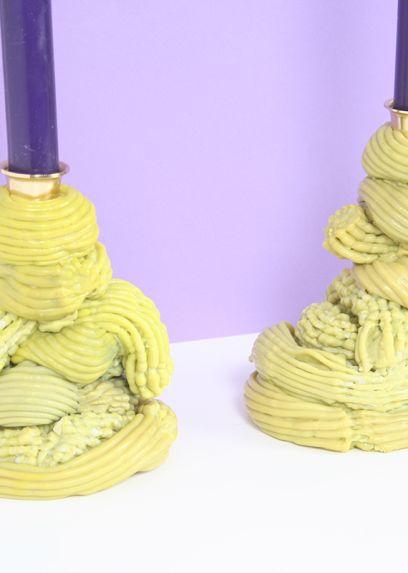 Plastic Baroque Absinth Candlesticks