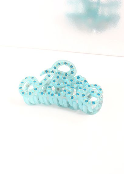 Turquoise Love Crab Hairclip Full Strass