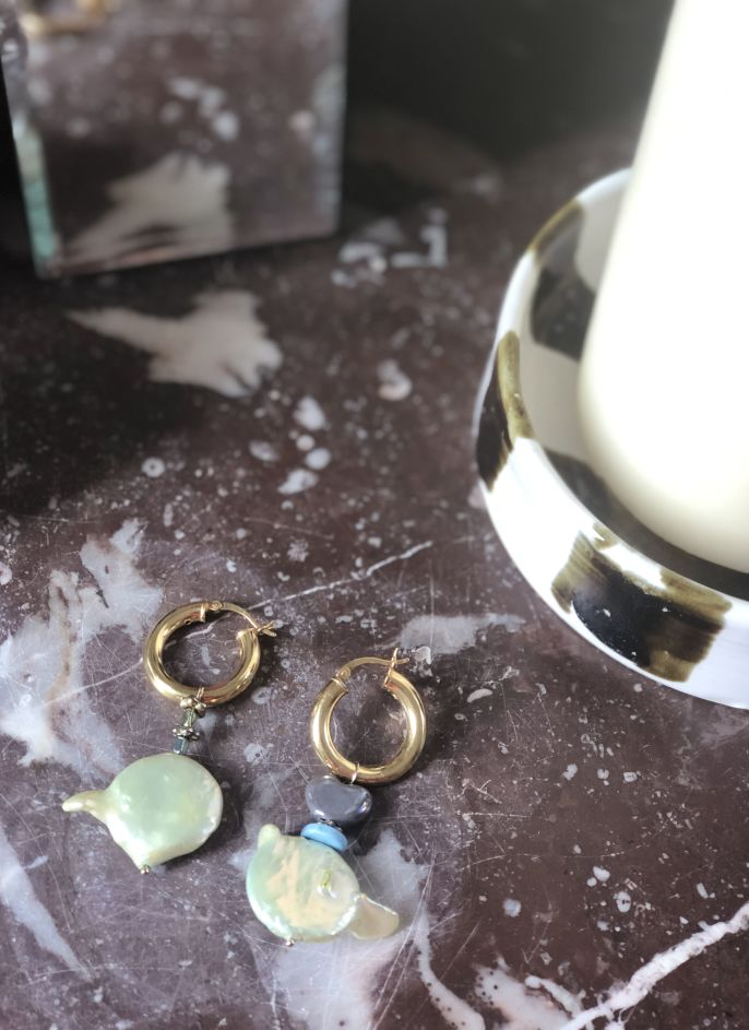 Boucles d'oreille Perles d'eau douce Menthe