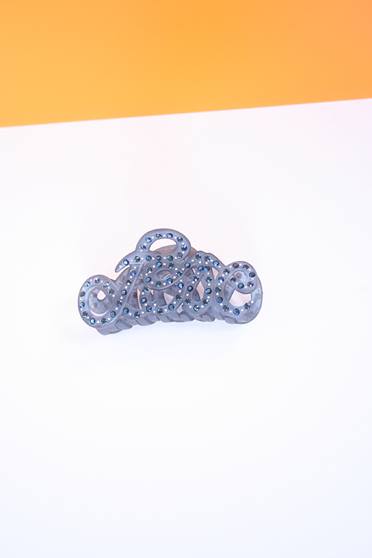 Love Crab hairclip Blue Light Strass