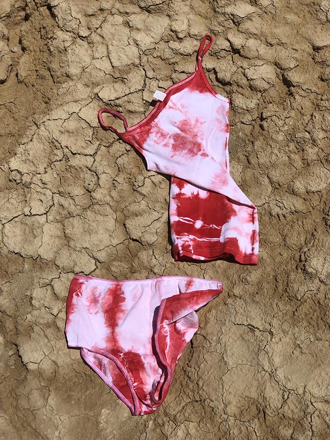 Ensemble culotte + Caraco Tie & Dye Rouge
