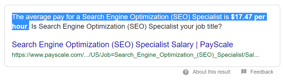 average salary for SEO specialist
