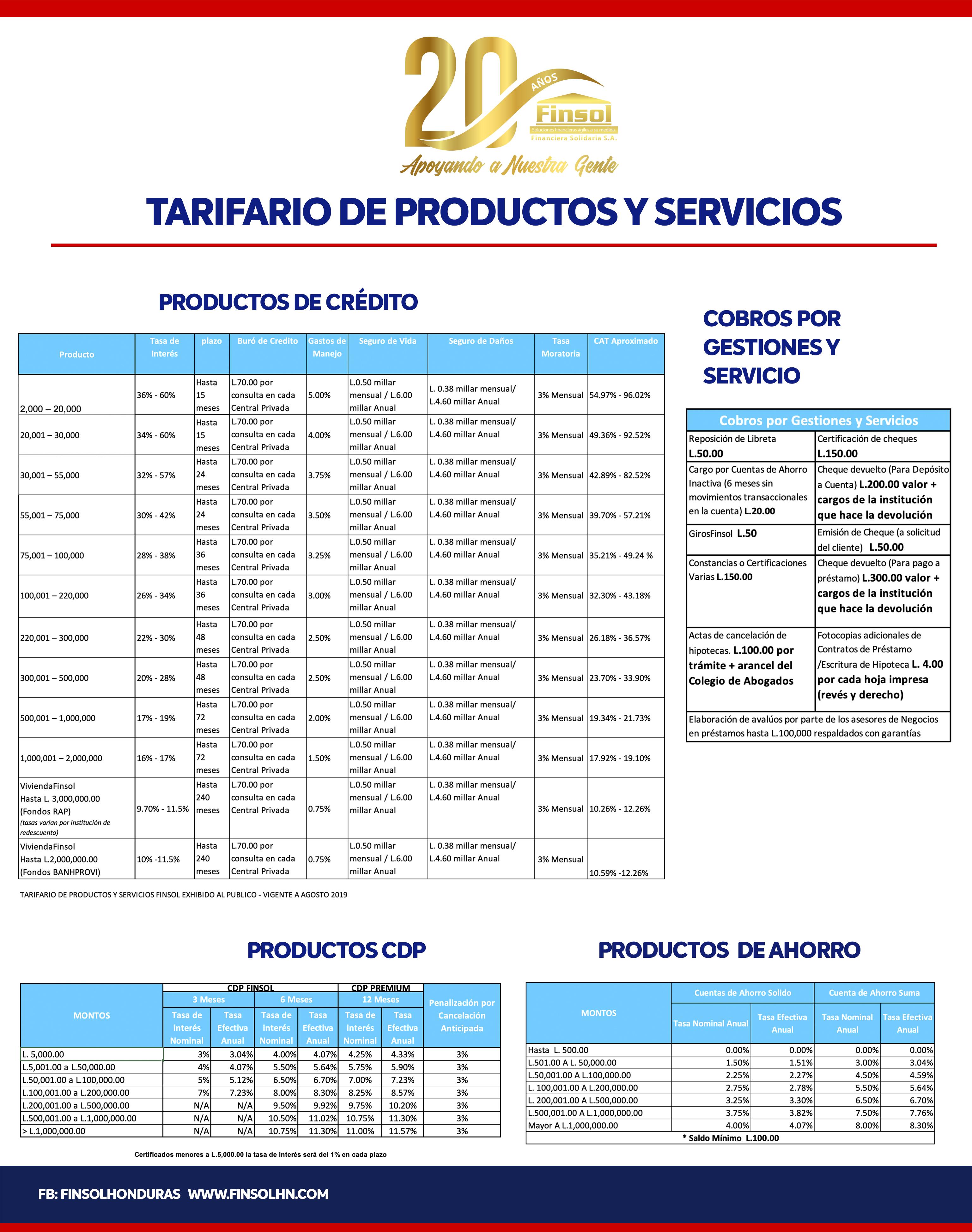 Tarifas productos y servicios