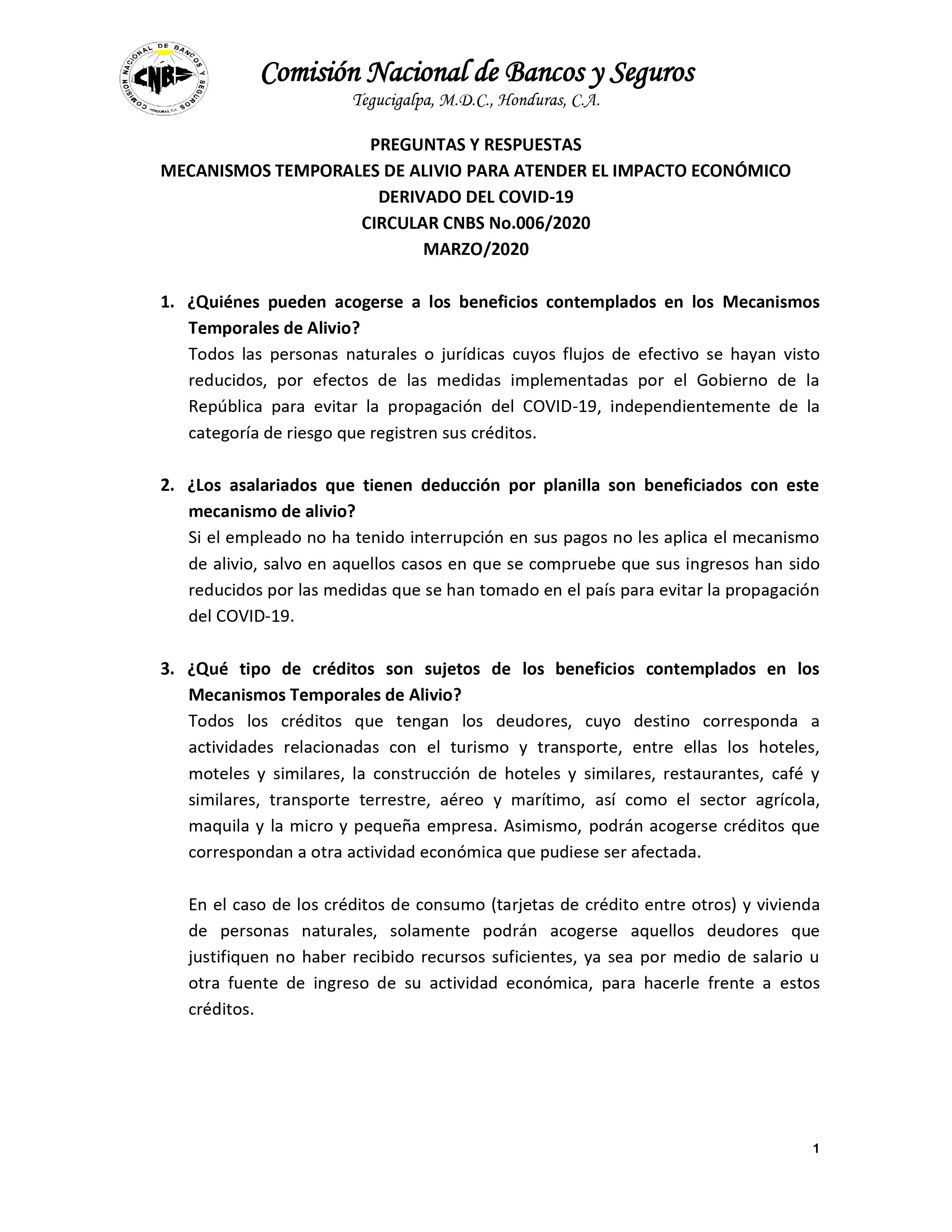 Plan de Alivio COVID19 CNBS Pagina 1 de 4