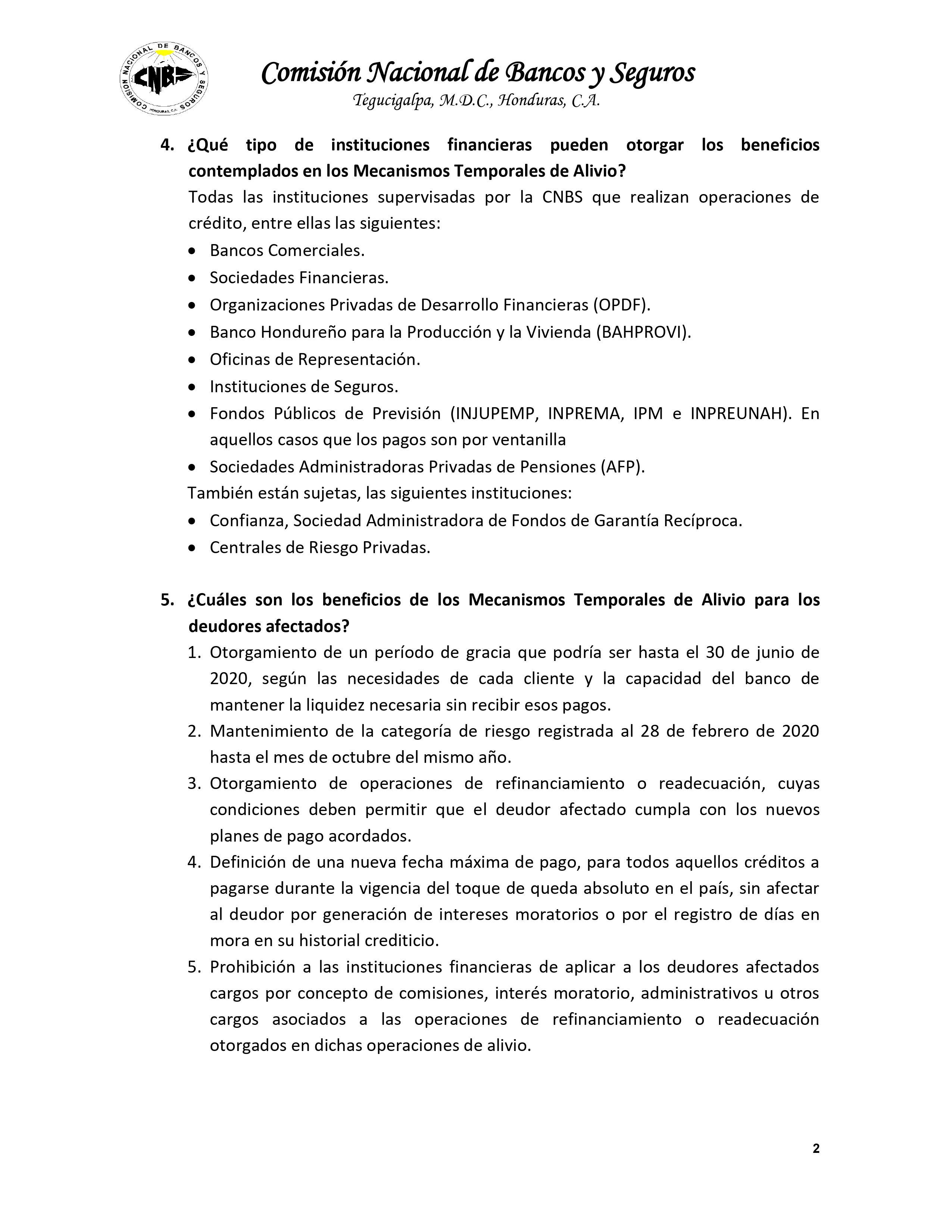 Plan de Alivio COVID19 CNBS Pagina 2 de 4