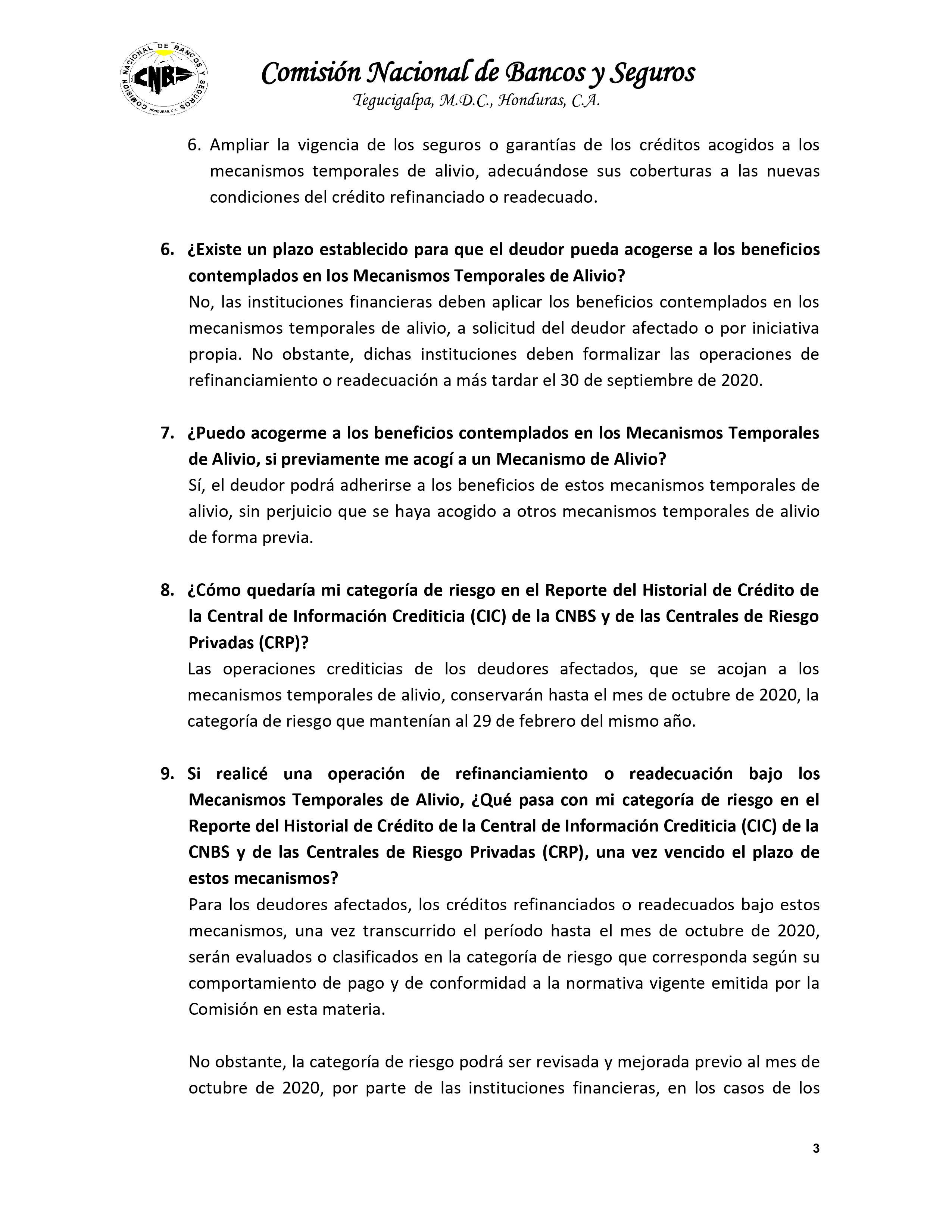 Plan de Alivio COVID19 CNBS Pagina 3 de 4