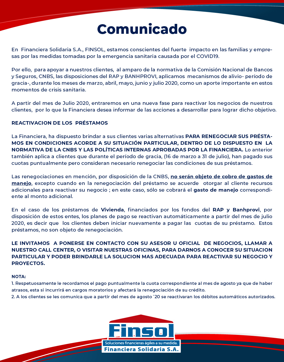 Comunicado Finsol Julio 2020
