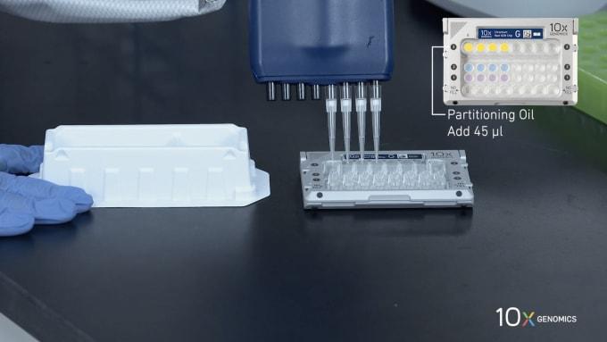 Screen capture of Chromium Next GEM Single Cell 3' v3.1 How-to video series. Load Chromium Next GEM Chip G.