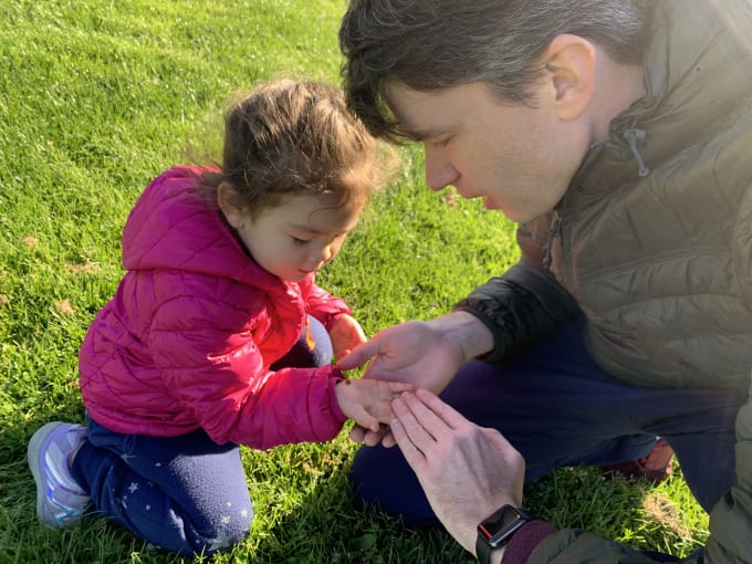 Finding ladybugs with dad!