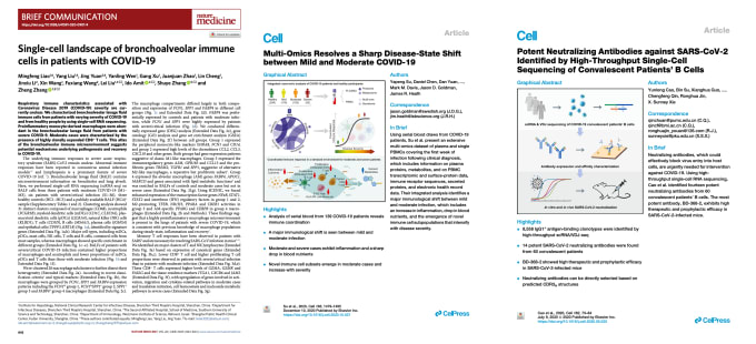 From left to right: Liao et al. (Nat Med), Su et al. (Cell), Cao et al. (Cell).