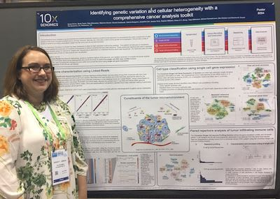 """""""Identifying genetic variation and cellular heterogeneity with a comprehensive cancer analysis toolkit,"""" poster by 10x's Sarah Garcia"""