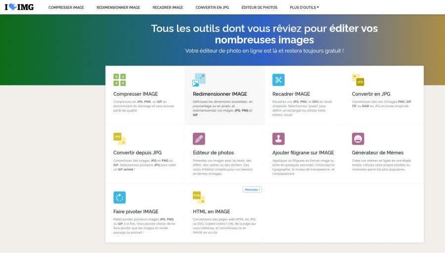 Screenshot du site Ilove img